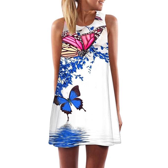 f6f607ae54 Goddessvan Women's Bohemian Vintage Floral Print Dress Summer T-Shirt Short  Mini Dress (S