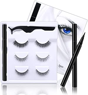 Magic Eyeliner with Reusable Eyelashes,3 Pairs Natural Look False Eyelashes With Waterproof Eyeliner, Free Tweezer - Light Glue Lashes and Eyeliner Set