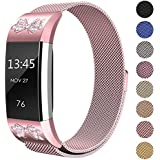 """Fitbit Charge 2 Bands Metal Small & Large (5.5"""" - 9.9""""), Swees Milanese Stainless Steel Magnetic Replacement Wristband for Fitbit Charge 2 Women Men, Silver, Champagne, Rose Gold, Black, Colorful"""