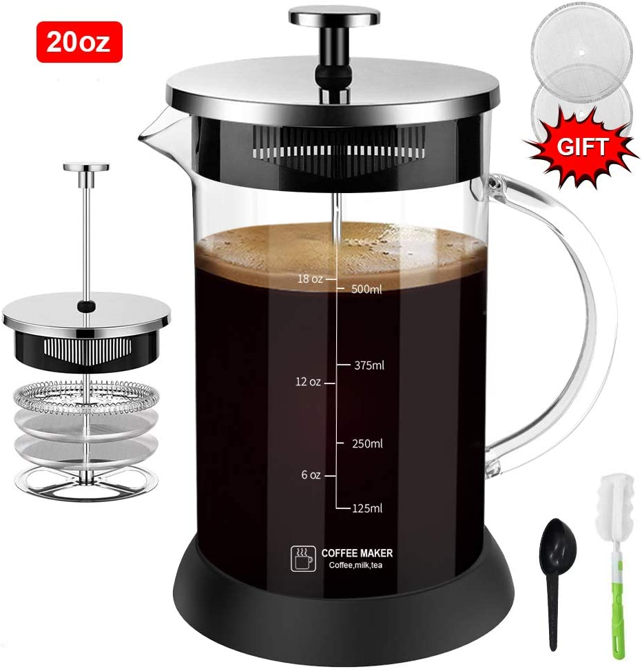 Upgraded French Press Coffee Maker Glass 20 oz, French Coffee Press with Glass handle and non-slip silicone base Precise Scale Easy to Clean Durable Heat Resistant Black/Copper/Silver (Silver, 20oz)