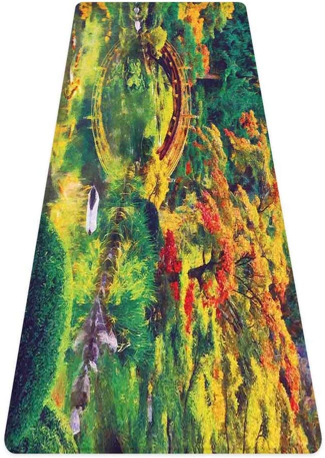 SoSung Country Decor Rug Runner,Fairy Image of a Japanese Garden with an Old Ancient Bridge Over The Lake Nature Print,for Living Room Bedroom Dining Room,6'x 2',Green Orange