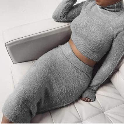 30a936e06 Amazon.com: Iumer 2pcs Women Sweater Skirt Set Autumn Winter Long Sleeve  High Collar Cropped Top and Pencil Skirt Knitted Suit,Gray,M: Kitchen &  Dining