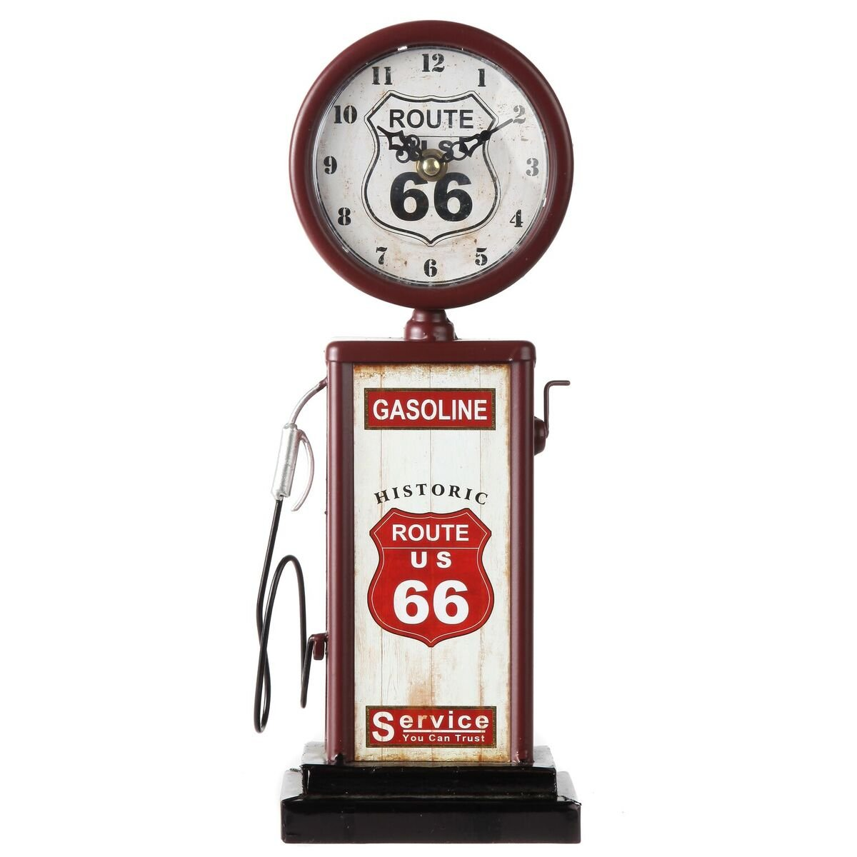 "Lily's Home Old Fashioned Route 66 Gas Pump Mantle Clock, Battery Powered with Quartz Movement, Makes an Ideal Gift for Antique Sign Collectors, Brown/Red (13 1/2"" x 4 3/4"")"