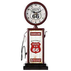"""Lily's Home Old Fashioned Route 66 Gas Pump Mantle Clock, Battery Powered with Quartz Movement, Makes an Ideal Gift for Antique Sign Collectors, Brown/Red (13 1/2"""" x 4 3/4"""")"""