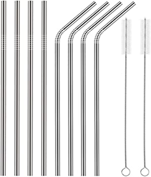 8-Count Souvea Ultra Long Stainless Steel Straws