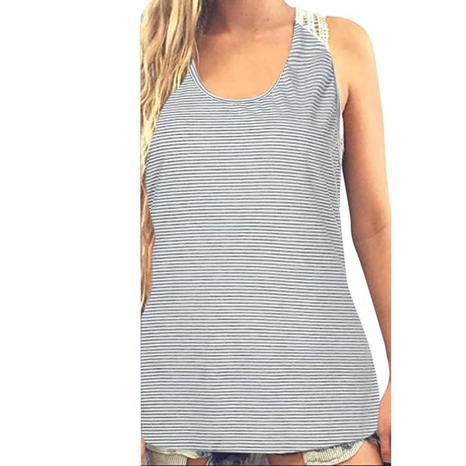 Mujer Blusa,Sonnena ❤ ❤ Mujer rayas Tops sin manga blusa con impresión