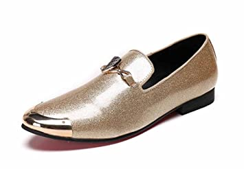 GLSHI Hombres Negocio Zapatos Casuales Oxford, Juvenil, Novedad, Mocasines Transpirables, Zapatos De Cuero Brillante: Amazon.es: Deportes y aire libre