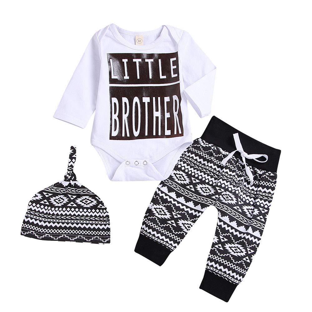 Sameno Baby Christmas Layette Set,Newborn Infant Baby Girls Boys Letter Floral Romper Jumpsuit Pants Hat Outfits Set