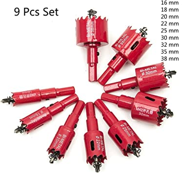 Juego de 9 brocas para taladro de alta calidad M42 HSS 16 mm, 18 mm, 20 mm, 22 mm, 25 mm, 30 mm, 32 mm, 35 mm, 38 mm 58DY