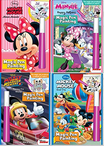 Disney Mickey & Friends Invisible Ink Magic Pen Painting Activity Books for Girls and Boys with Zipafile Zipper bag bundle. Includes:MICKEY MOUSE and MINNIE MOUSE Minnie Moments, Happy Helpers