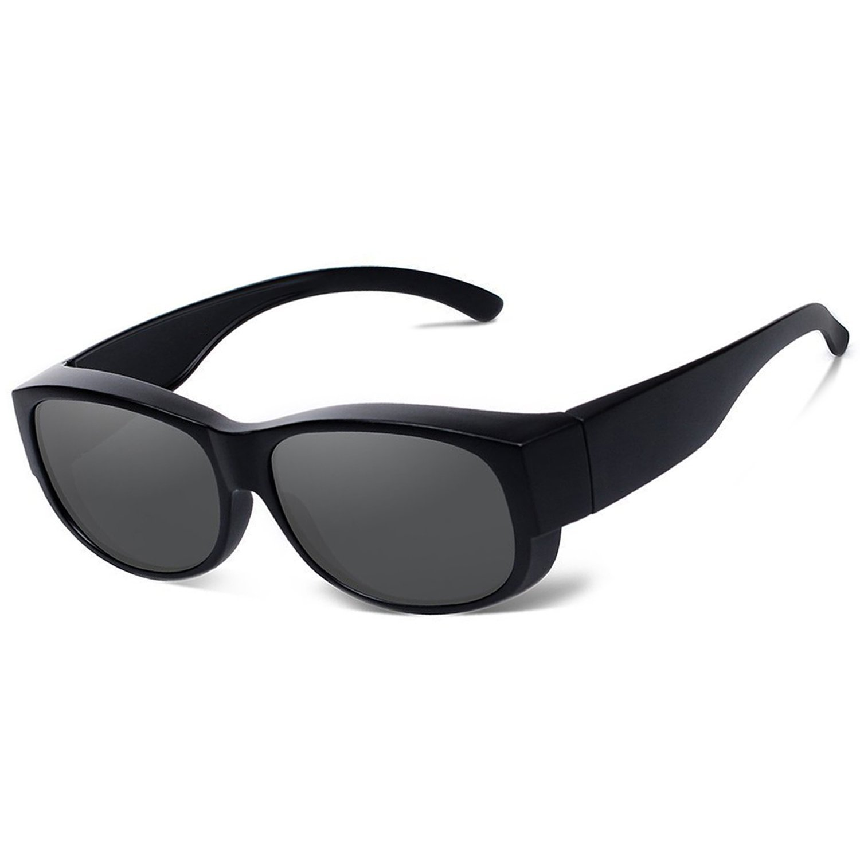 b22a0f15d12a Amazon.com  Fit Over Glasses Sunglasses Polarized Men Women Wear Over  Prescription Glasses (Black)  Clothing