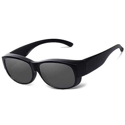e5eef8b76593 Fit Over Glasses Sunglasses Polarized Men Women Wear Over Prescription  Glasses (Black)