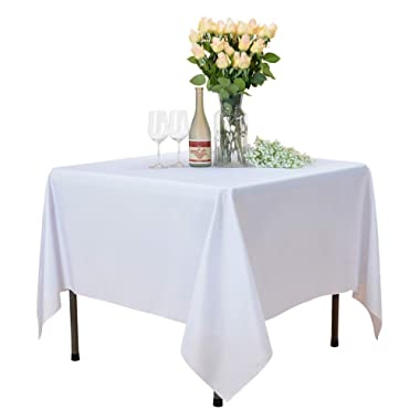 VEEYOO Square Tablecloth 100% Polyester Table Cloth for Indoor and Outdoor Table – Solid Dinner Tablecloth for Wedding Party Restaurant Coffee Shop (White, 70x70 inch)