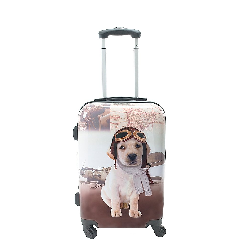 Chariot 20 Lightweight Spinner Carry-on Upright Suitcase, Pilot Dog Chariot Luggage CHD-23-20 OLDIES