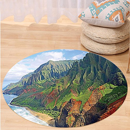 VROSELV Custom carpetHawaiian Decorations Na Pali Coast Kauai Hawaii Seashore Greenery Adventurous Journey Landscape Scenery Bedroom Living Room Dorm Decor Round 72 inches by VROSELV