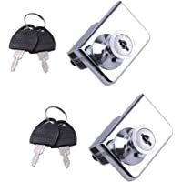 2 Pack dubbel open glazen deur vitrine vitrine veiligheidsslot, geschikt voor 0,2-0,3 inch glazen deur, aparte sleutel…