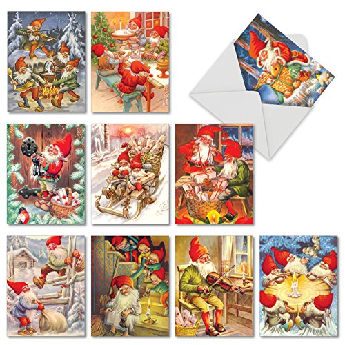 Gnome for the Holidays: 10 Assorted Christmas Greeting Cards Showcasing a Happy Family Dinner of Fairytale Creatures, with Envelopes. AM6440XSG-B1x10 (Holiday Assorted Card)