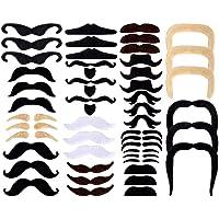 SIMUER 48Pack Fausses Moustaches Auto-Adhésif Fake Moustache de Nouveauté Fiesta Partie Fournitures la Fête de Mascarade Halloween Photo Booth Props