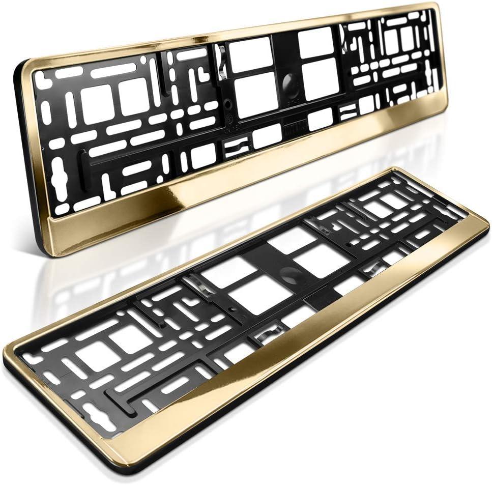 Schildevo 2 Kennzeichenhalter Gold Metallic Hochglanz Chrom Look Nummernschildhalter Kennzeichen Halterung Dhl Versand Auto
