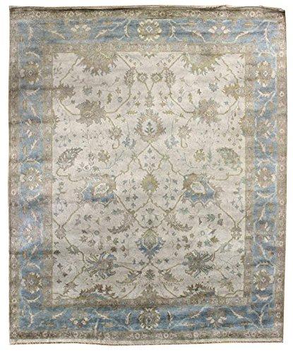 Indoshak Collection J41983 Hand-woven Ivory & Light blue Oushak Design Wool Area Rug 9 feet by 12 Feet (9x12)