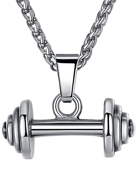 1f3d1d96fdc Aoiy Men's Stainless Steel Weightlifting Barbell Pendant Necklace, 24