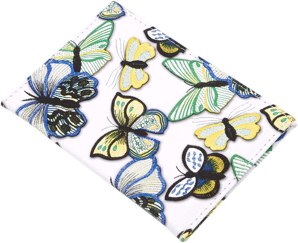 LIUCM Passport Cover Women Wallet Colorful Butterfly Print Elegant Ladies Travel Storage Supplies Passport Card Holder White Bottom Green Yellow Butterfly 5#