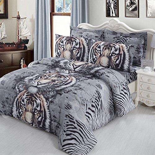 JessyHome 3d Bedding Set Queen/Full Tiger Duvet Cover Print Sheet Set for Teens Boys and Girls 2 Pillow Shams 1 Flat Sheet 1 Duvet Cover