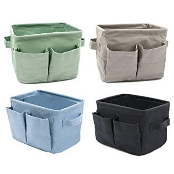 Jacone Mini Cute Linen And Cotton Fabric Storage Baskets Kids Storage Bins  Boxes With Dampproof Inner