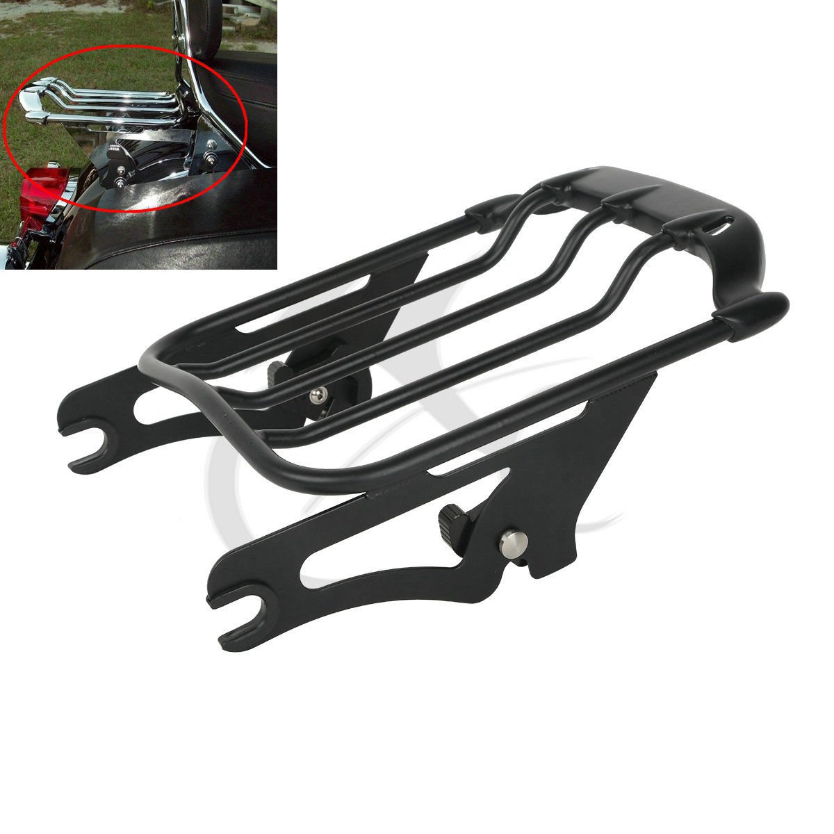 XFMT Motorcycles Chrome 2-UP Air Wing Luggage Rack Mount fits Compatible with Harley Touring Street Glide FLHX 2009-2018