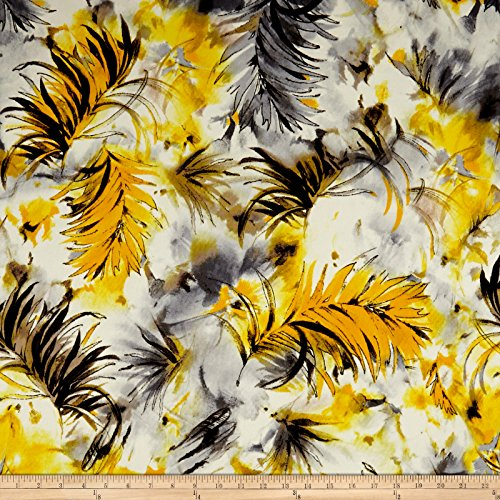 TELIO 0562993 Spring Scuba Knit Print Floral Yellow Fabric by The Yard ()
