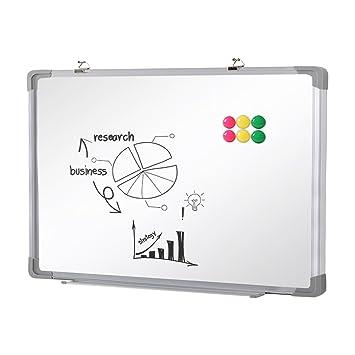 SwanSea oficina pizarra blanca magnética con pen tray y 6 Magnetes 40x30cm