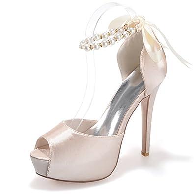 4b7cab33b93a JIAME Women's Peep Toe Platform Heels Pumps Ankle Straps Buckle Satin  Wedding Evening Party Prom Sandals