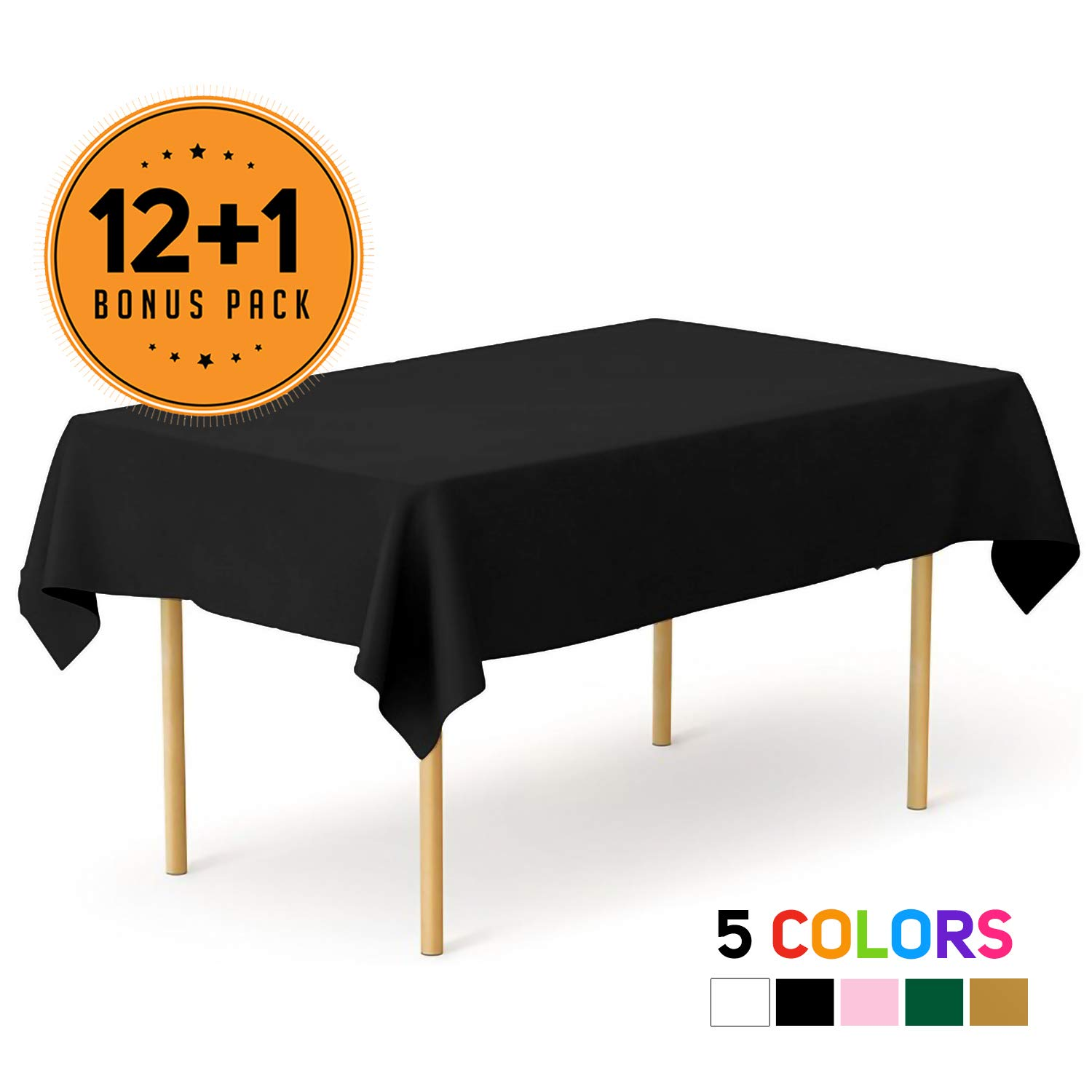Black 13 Pack Premium Disposable Plastic Tablecloth 54 x 108 Inch - Waterproof Disposable Tablecloths for Rectangle Tables up to 8 ft in Length - Indoor or Outdoor Use - Party Plastic Table Cover by Eleclassi