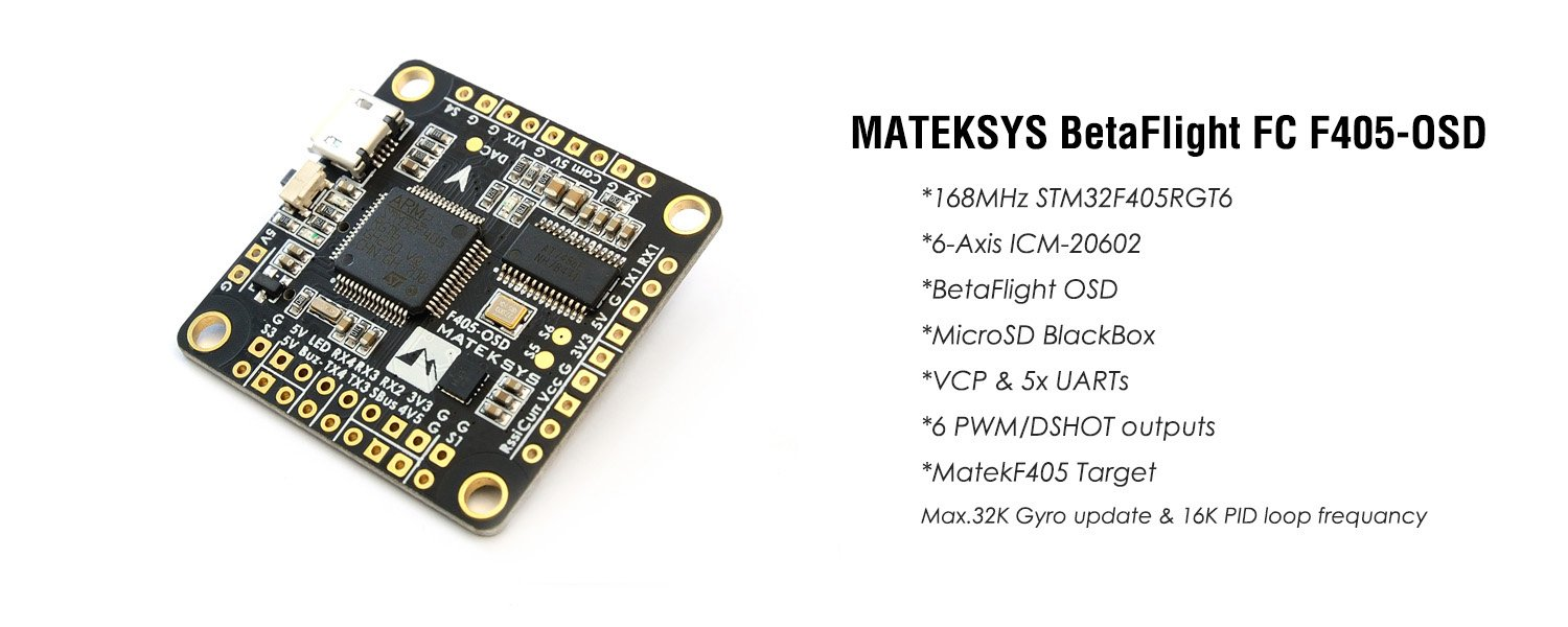 Matek Systems F4 FC Flight Controller STM32 F705 MCU Bateflight OSD w/AT7456E Chip for FPV RC Drone ( SD Card Slot 7 Axis ICM-20602,VCP 8x  UARTs,8 PWM/DSHOT Outputs)