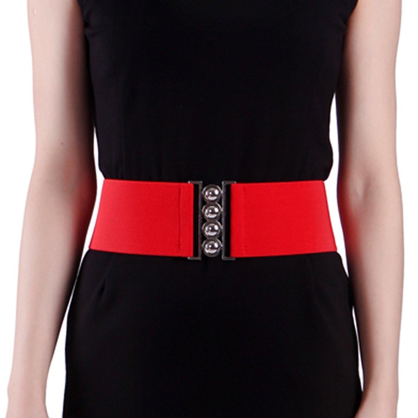 HDE Women's Cinch Belt Elastic Stretch Fashion Waist Band W/Clasp Buckle XS-5X