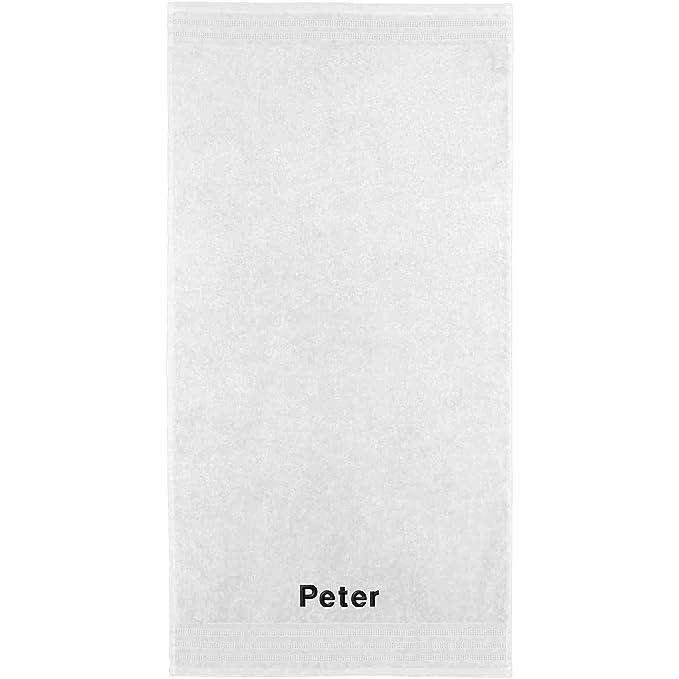 Erwin Müller Toalla con nombres Peter bordado, weiß, 50 x 100 cm: Erwin Müller: Amazon.es: Hogar