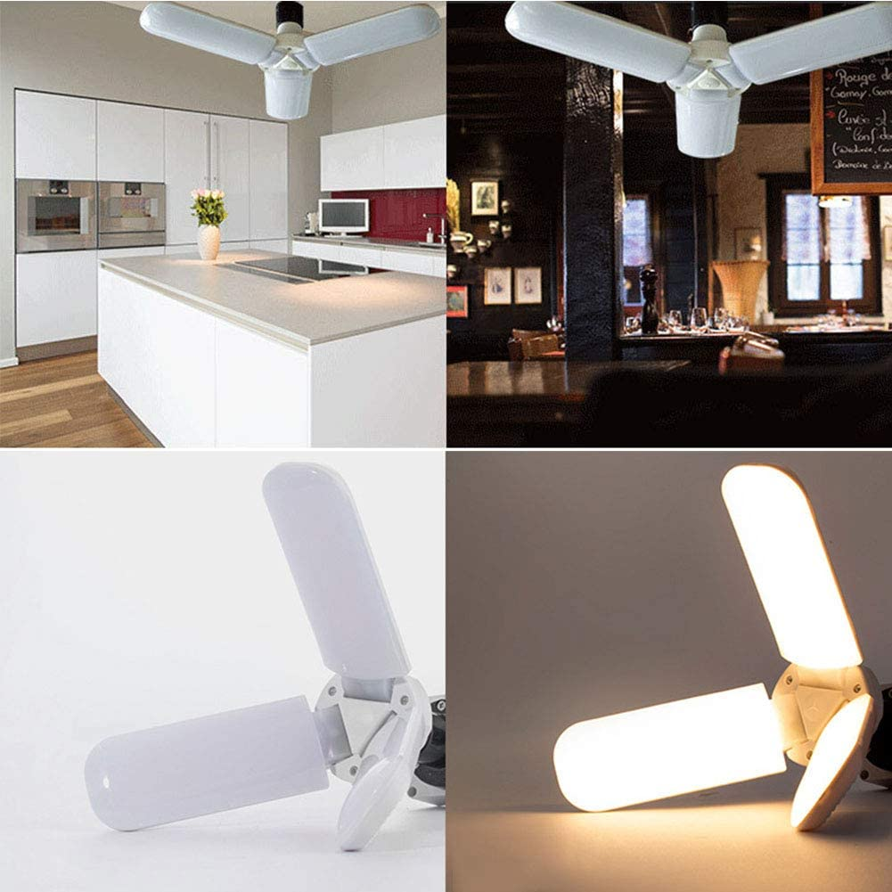 S28esong Led Garage Lights,Fan Blade Angle Adjustable Ceiling Lamp,Foldable LED Lights,Durable White Ceiling Light Energy Saving Super Bright