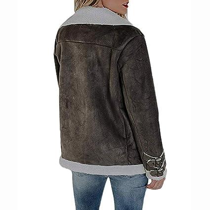 Overdose Chaqueta De Invierno Faux Suede Warm Jacket Zipper Up Escudo Grueso Superventas Outwear con Bolsillos Ocio Tops Estilo Sexy Blusa Abrigo: ...