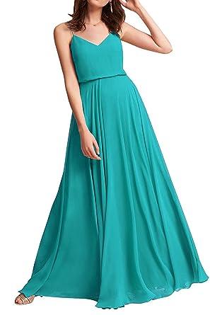 ad934db46b MARSEN Spaghetti Strap Bridesmaid Dresses V-Neck Chiffon Beach Wedding Long  Prom Gowns for Women