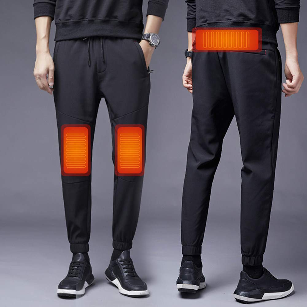 Insulated Heated Trousers, USB Heated Cotton Pants, Men's Electric Heating Clothes, Warm Knee Pads, Washable Graphene Carbon Fiber Trousers, Relieve Leg Pain, For Outdoor Camping Fishing,Black-XXXXXL
