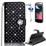 LG G3 Case – Sunroyal Bling 3D Handmade Diamond Glitter PU Leather Wallet Flip Case Cover with Bling Rose Magnetic & Card Holder Pouch [Stand ] with Metal Wrist Strap + Glass Screen Protector + Bow Anti Dust Plug For LG G3 (D855) - Black