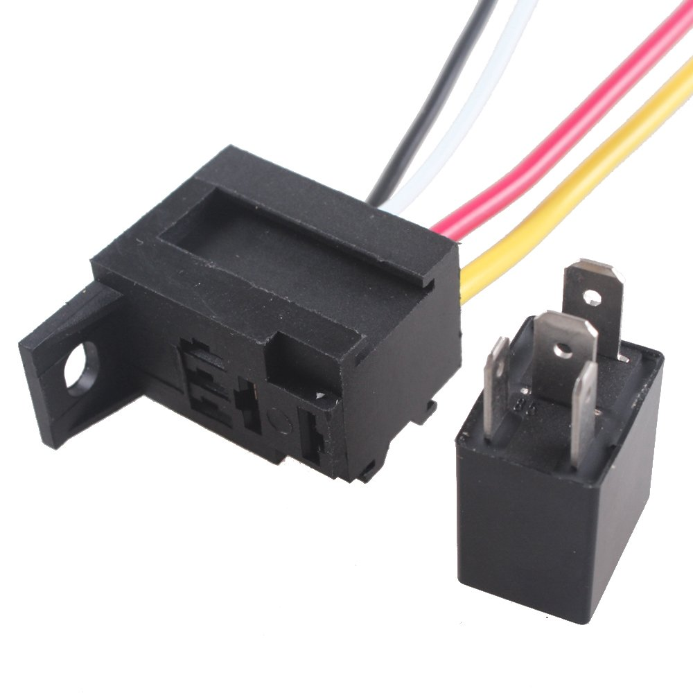 ESUPPORT Car Relay 12v 30a Spst 4pin Socket Pack of 10