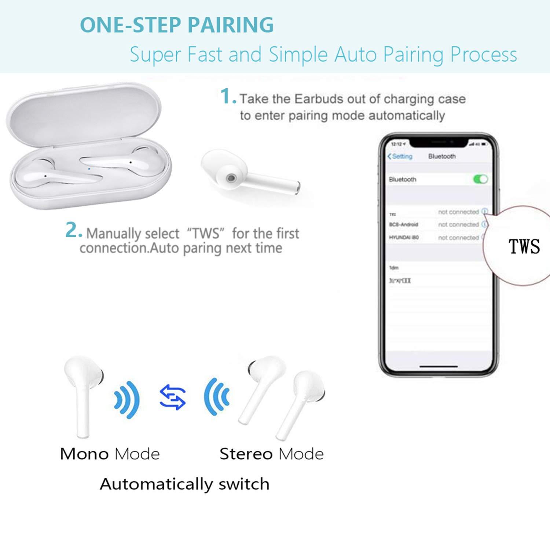 Auricolare Bluetooth stereo P20-TWS//Mini Auricolari Senza Fili//Sportivo Cordless con scatola di ricarica Portatile per tutti gli smartphone Cuffie Bluetooth 5.0