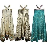 Mogul Womens Recycled Sari Magic Wrap Around Long Skirt Wholesale Lot Of 3 Pieces
