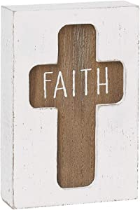 Collins Fresh and Original Routed Sitter Box Sign - Faith Christian Cross