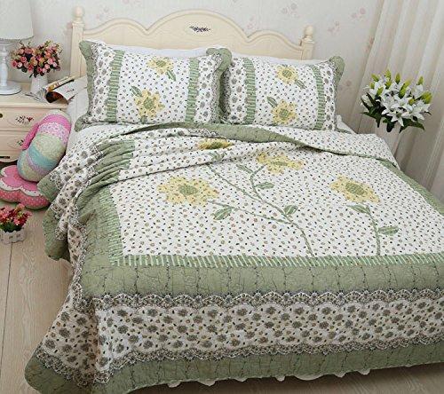 Dodou green sunflower Patchwork Quilt Summer Comforter Full / Queen Size Air Conditioning Quilt Blanket 3pcs (Conditioning Sunflower)