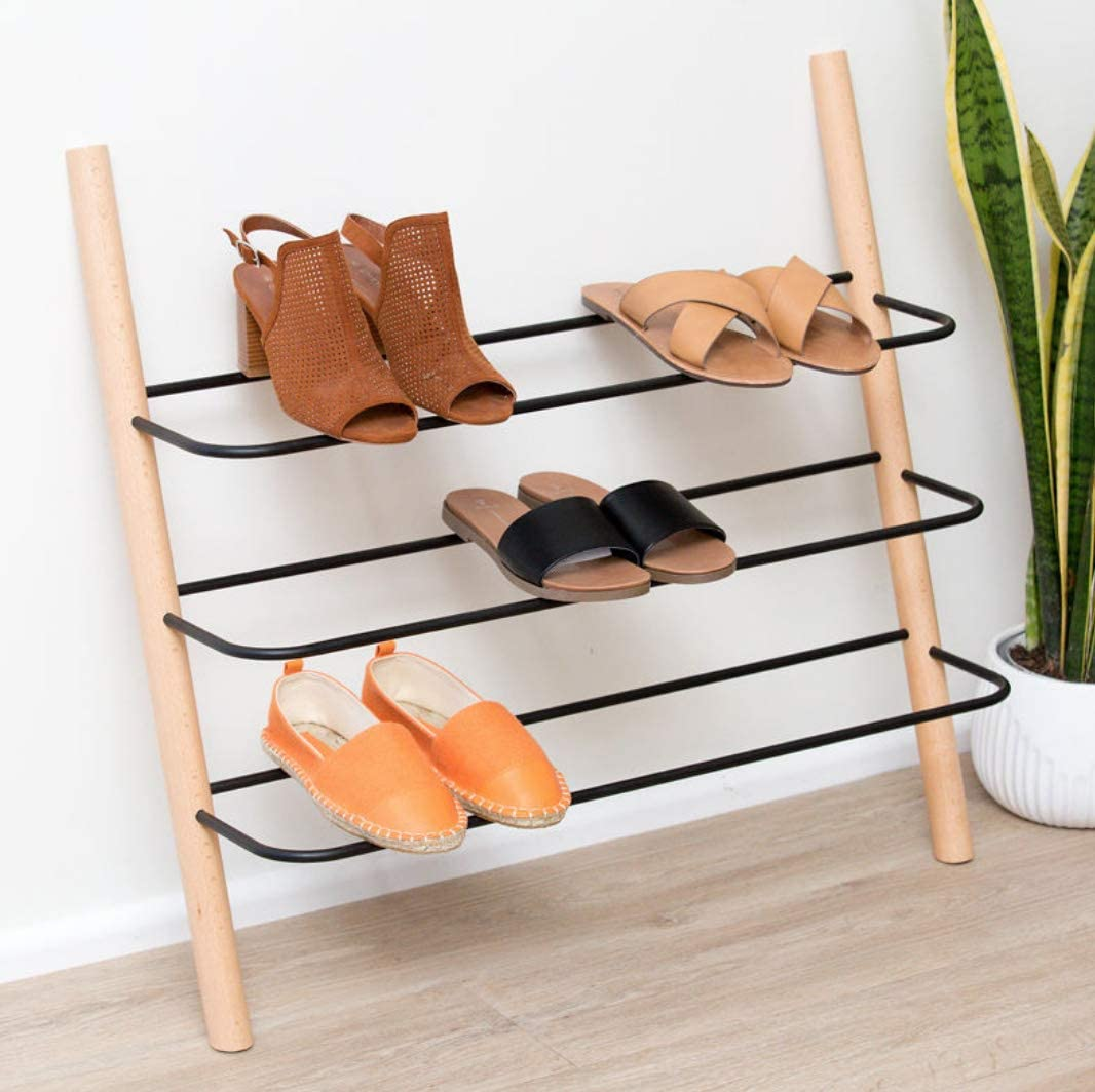 Wooden Shoe Rack Organizer - Modern Shoe Rack That Holds 12 Pairs of Shoes   Wooden Shoe Racks for Closets 3 Tier Could Be Used in the Kitchen, Entryway or Mudroom for Extra Storage (Beech, 3 Tier)