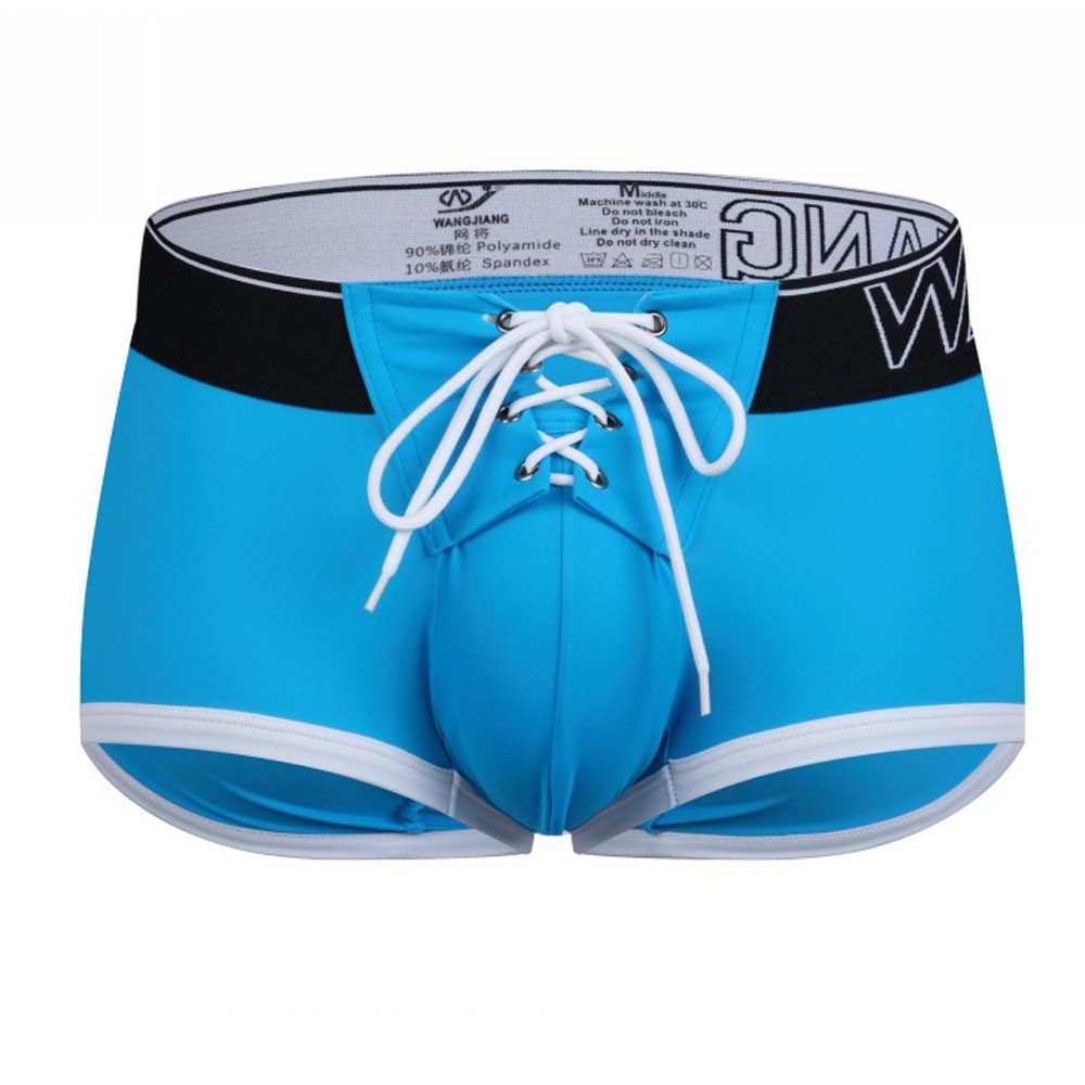 Men Briefs Tether Swimwear Beachwear Surf Boardshorts Swim Trunks for Swimming (Blue, M)
