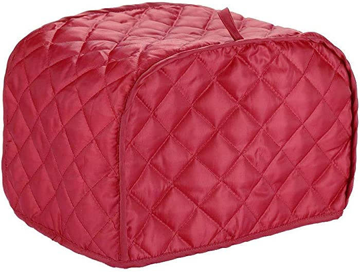 Hoocozi Polyester Quilted 4 Slice Toaster Appliance Cover, Dust and Fingerprint Protection, Machine Washable - Red