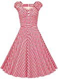 MUXXN Women's 1950s Style Vintage Swing Party Dress (S, Red Plaid)